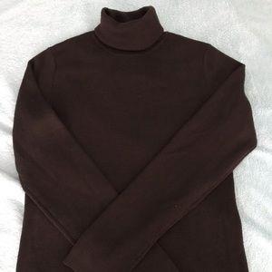 100% Merino Wool Chocolate Turtleneck Sweater